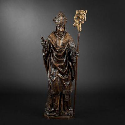 Expertissim - Sculpture-Expertissim-Nord de la France, XVIe si�cle. Saint Ev�que en bo