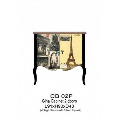 DECO PRIVE - Buffet bas-DECO PRIVE-Buffet bas vintage motif Tour Eiffel Gina