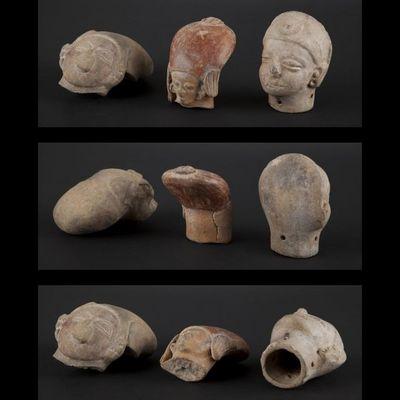 Expertissim - Objet d'art précolombien-Expertissim-Trois têtes de statuettes en terre cuite Jama Coaq
