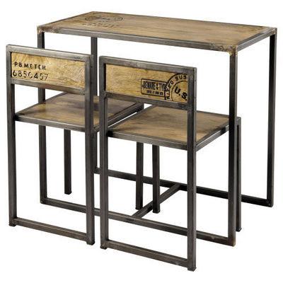 Maisons du monde - Mange debout-Maisons du monde-Set Table + 2 Chaises Manufacture