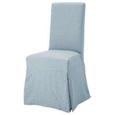 Maisons du monde - Chaise-Maisons du monde-Housse lin bleu grisé Margaux