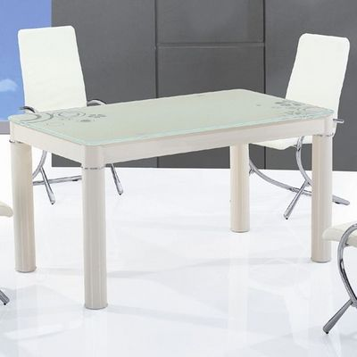 CLEAR SEAT - Table de repas rectangulaire-CLEAR SEAT-Table en Verre Rectangle Crème Boreal