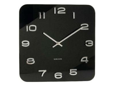 Karlsson Clocks - Horloge murale-Karlsson Clocks-Horloge carrée vintage noire en verre 35cm