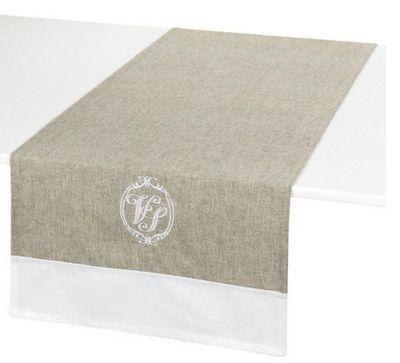Antic Line Creations - Tête à tête-Antic Line Creations-Chemin de table brodé vénus lin en coton 45x145cm