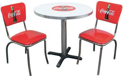 US Connection - Coin repas-US Connection-Set de Diner Coca Cola : Table & Deux Chaises