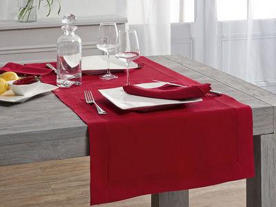 BLANC CERISE - Chemin de table-BLANC CERISE-Vis-�-vis - lin d�perlant- uni, brod�