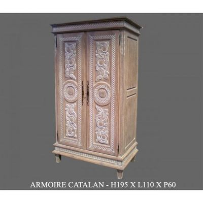 DECO PRIVE - Armoire � portes battantes-DECO PRIVE-Armoire en bois ceruse modele Catalane