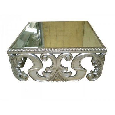 DECO PRIVE - Table basse carrée-DECO PRIVE-Table basse argentee baroque miroir