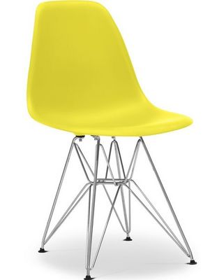 Charles & Ray Eames - Chaise réception-Charles & Ray Eames-Chaise jaune DSR Charles Eames Lot de 4