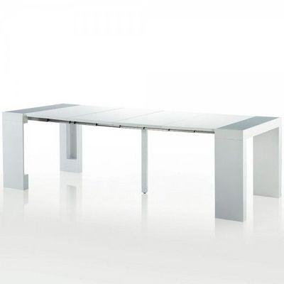 WHITE LABEL - Table de repas rectangulaire-WHITE LABEL-Table console extensible 4 rallonges Phoenix