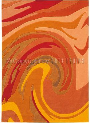 Arte Espina - Tapis contemporain-Arte Espina-Tapis de salon ACTION PAINTING orange 140x200 en A