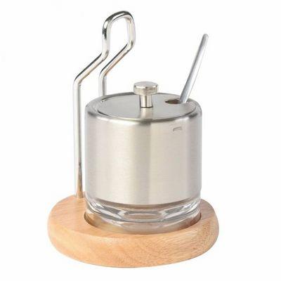 WHITE LABEL - Sucrier-WHITE LABEL-Elégant sucrier en verre sur support en bois