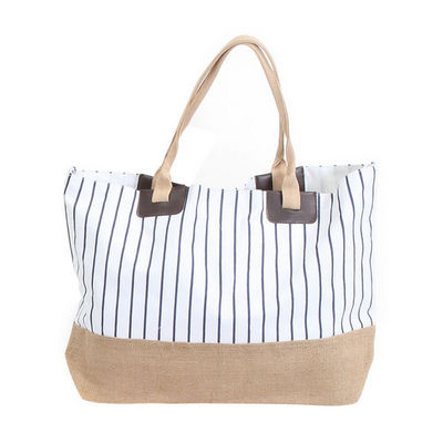 WHITE LABEL - Cabas-WHITE LABEL-Grand sac cabas à rayures pochette unie fond rayé
