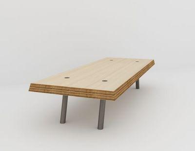MALHERBE EDITION - Table basse rectangulaire-MALHERBE EDITION-L'Acier biseautée