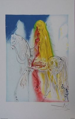 ARMAND ISRAËL - Lithographie-ARMAND ISRAËL-Lady Godiva de Salvador DALI lithographi