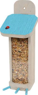 ZOLUX - Mangeoire à oiseaux-ZOLUX-Distributeur de graines garden en bois bleu 27x10x
