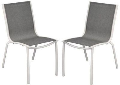 PROLOISIRS - Chaise de jardin-PROLOISIRS-Chaise Linea en Aluminium Blanc sand et Textilène