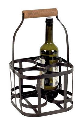Aubry-Gaspard - Porte-bouteilles-Aubry-Gaspard-Panier 4 bouteilles en métal et bois