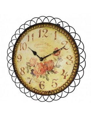 L'HERITIER DU TEMPS - Horloge murale-L'HERITIER DU TEMPS-Horloge Fer et Bois Motif Fleuri 39cm