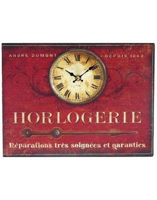 L'HERITIER DU TEMPS - Horloge murale-L'HERITIER DU TEMPS-Horloge Plaque Publicitaire Rouge