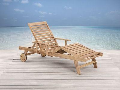 Meubles en bois teck chaise longue de jardin beliani for Chaise longue teck jardin