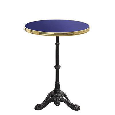 Ardamez - Table bistrot-Ardamez-Table de bistrot émaillée bleu / laiton / fonte