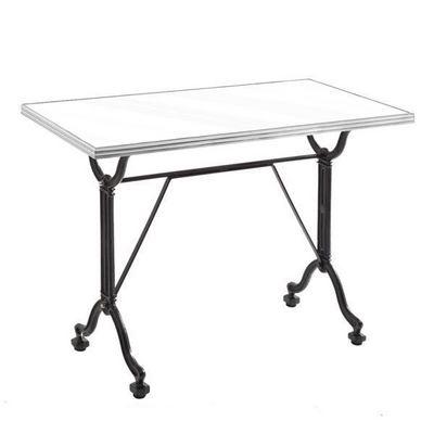 Ardamez - Table de repas rectangulaire-Ardamez-Table de repas émaillée blanc / inox / fonte