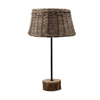 Interior's - Lampe à poser-Interior's-Lampe bois abat-jour en rotin