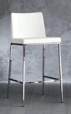 WHITE LABEL - Chaise haute de bar-WHITE LABEL-chaise de bar ERIK en cuir éco blanc, piétement ch