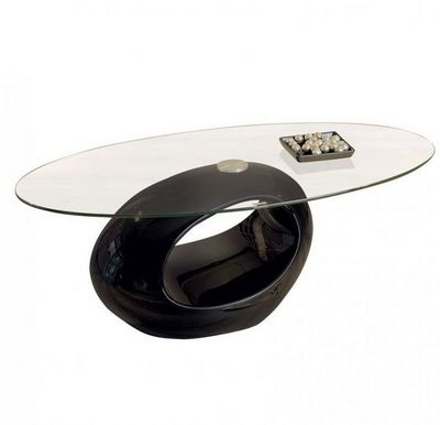 WHITE LABEL - Table basse ovale-WHITE LABEL-Table basse ovale NIGRA en verre et piétement noir