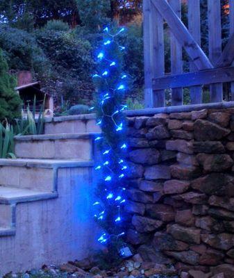FEERIE SOLAIRE - Guirlande lumineuse-FEERIE SOLAIRE-Guirlande Solaire 60 leds Bleues à clignotements 7