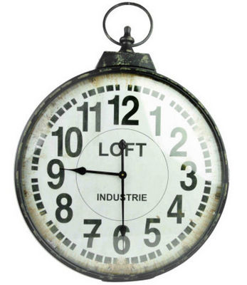 Antic Line Creations - Horloge murale-Antic Line Creations-Horloge industrielle Loft