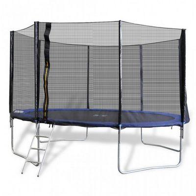 WHITE LABEL - Trampoline-WHITE LABEL-Trampoline 12' 4 pieds + filet de sécurité