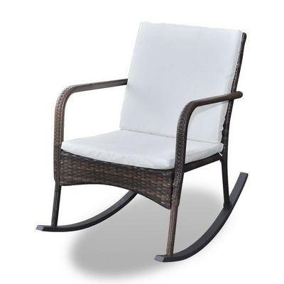 WHITE LABEL - Rocking chair-WHITE LABEL-Fauteuil � bascule pour jardin rotin