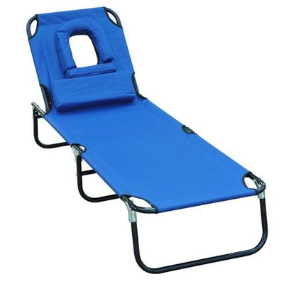 WHITE LABEL - Bain de soleil-WHITE LABEL-Transat de jardin pliable chaise longue bleu