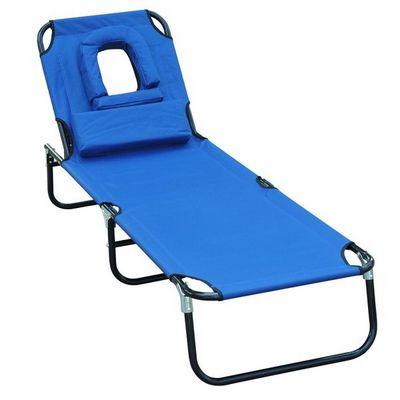 WHITE LABEL - Bain de soleil-WHITE LABEL-Transat de jardin pliable chaise longue bleu