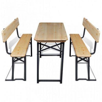 WHITE LABEL - Table pique-nique-WHITE LABEL-Table + 2 bancs pliables pique nique