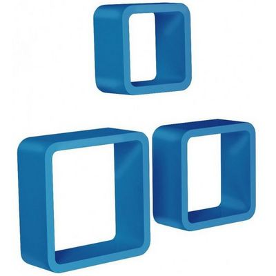 WHITE LABEL - Etagère-WHITE LABEL-Étagère murale x3 cube design bleu