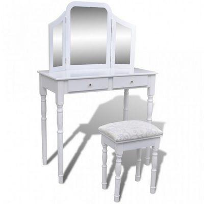 WHITE LABEL - Coiffeuse-WHITE LABEL-Coiffeuse avec grand miroir et tabouret