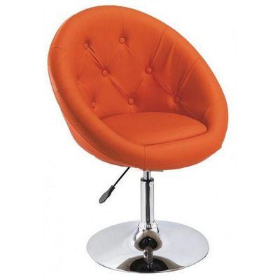WHITE LABEL - Fauteuil rotatif-WHITE LABEL-Fauteuil lounge pivotant cuir orange