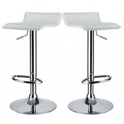 WHITE LABEL - Chaise haute de bar-WHITE LABEL-Lot de 2 Tabourets de bar blanc