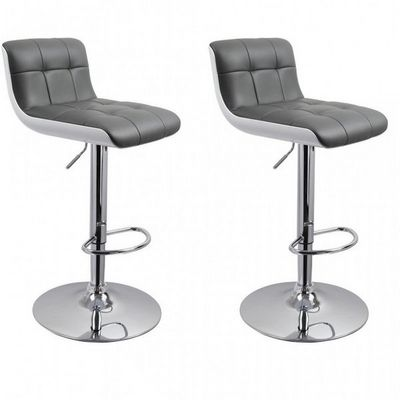 WHITE LABEL - Chaise haute de bar-WHITE LABEL-Lot de 2 tabourets de bar gris hauteur réglable