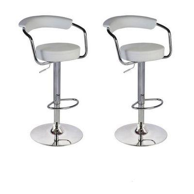 WHITE LABEL - Chaise haute de bar-WHITE LABEL-Lot de 2 tabourets de bar en cuir PU blanc