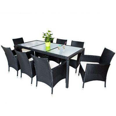 WHITE LABEL - Salle à manger de jardin-WHITE LABEL-Salon de jardin 8 chaises + table noir