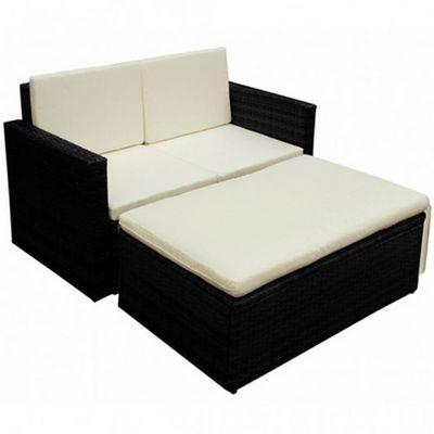 WHITE LABEL - Canapé de jardin-WHITE LABEL-Salon de jardin noir 2 pièces modulables