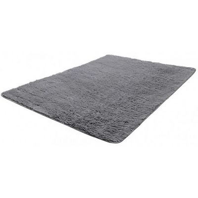 WHITE LABEL - Tapis contemporain-WHITE LABEL-Tapis salon gris poil long taille M