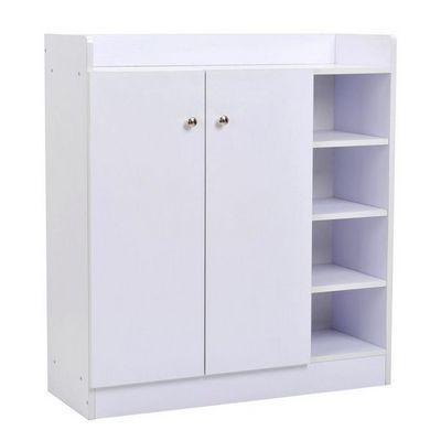 WHITE LABEL - Meuble à chaussures-WHITE LABEL-Meuble armoire à chaussure bois tiroirs blanc
