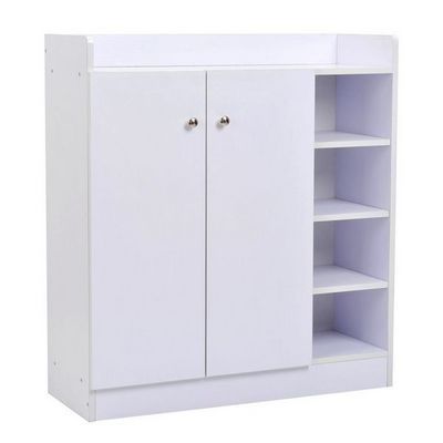 WHITE LABEL - Meuble � chaussures-WHITE LABEL-Meuble armoire � chaussure bois tiroirs blanc