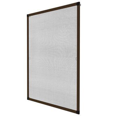 WHITE LABEL - Moustiquaire de fenêtre-WHITE LABEL-Moustiquaire pour fenêtre cadre fixe en aluminium 100x120 cm brun