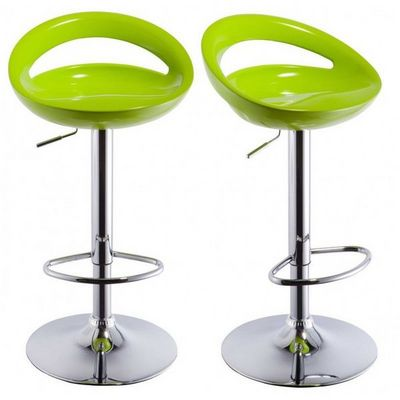 WHITE LABEL - Chaise haute de bar-WHITE LABEL-Lot de 2 Tabourets de bar vert